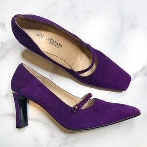 St John Purple Suede Mary Jane Heels, Size 10